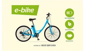 卡通电动自行车AI设计素材