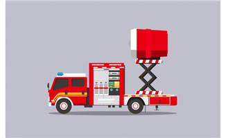 消防车扁平化插画设计AI素材下载