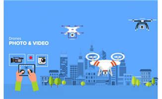 手绘无人机城市科技卡通矢量素材