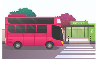 双层巴士矢量素材设计