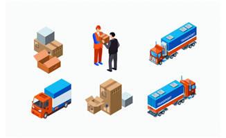 物流运输元素立体矢量图片