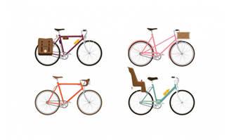 小清新卡通彩色自行车设计素材