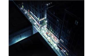 现代城市俯视街道的视觉