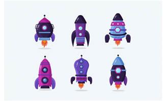 紫色手绘宇宙飞船设计元素