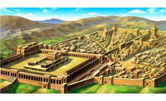 中东风格手绘古城全景动