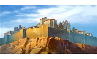 石岩上城墙手绘动画背景