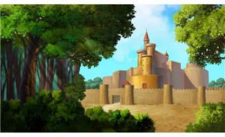 树林旁的古城堡建筑物动