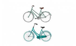自行车矢量小清新水彩手绘素材