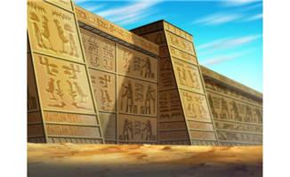 刻有古文的城墙动画背景