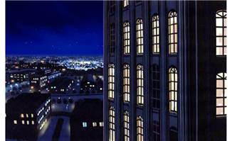 高楼大厦一角俯视整个城