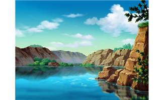 美丽漂亮手绘湖泊动画场