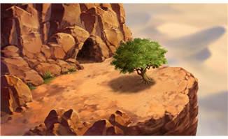 手绘悬崖峭壁上的一棵树