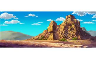 高原蓝色天空下的山岩动