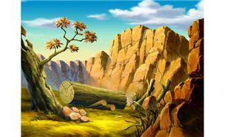 夏季的原始峡谷手绘动画
