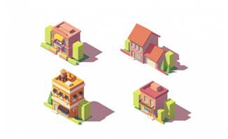 扁平化立体房屋建筑素材