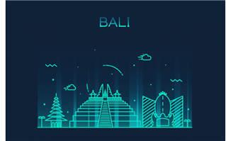 巴厘岛城市插画图片
