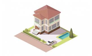 别墅小区模型矢量设计图