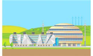 创意办公楼场景元素设计