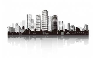 繁华城市剪影立体图矢量