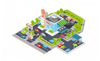 矢量建筑城市航拍素材图