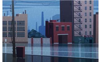 卡通立体蓝色城市楼房设
