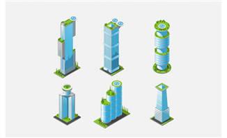 商务大楼蓝色3D建筑设计素