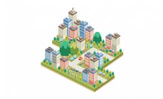 卡通2.5D立体城市建筑素材