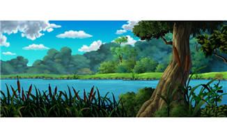 湖泊边的树林手绘动画背景