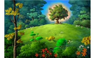森林深处的果树ps手绘场景设计