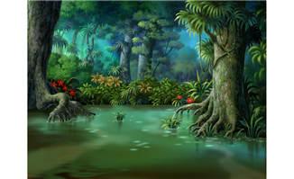 原始森林手绘动画绿色背景设计素材