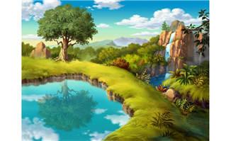 油画风格动画背景设计森林深处瀑布
