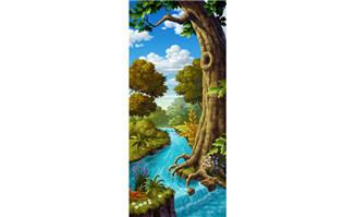 ps手绘竖条的大树与小溪流场景