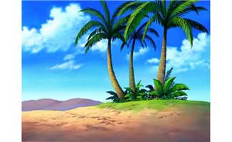 海边椰子树海滩cg背景设计