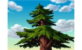 手绘绿色大树松树造型设计素材