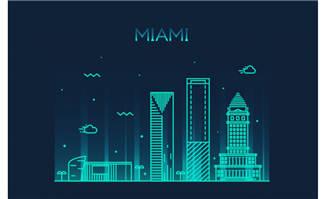 迈阿密矢量城市建筑插画