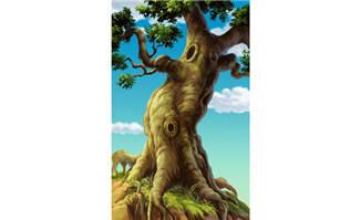 手绘树干大树造型背景素材参考