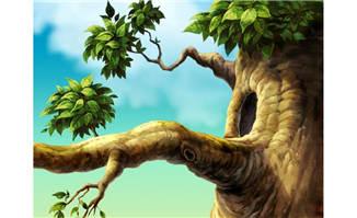 树枝大树上动物的洞穴ps手绘背景设计