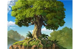 手绘山上的大树造型设计动画ps背景素材