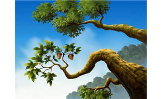 在户外的松子树手绘动画背景设计