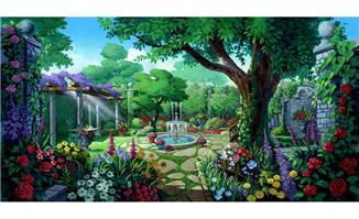 梦幻园林植物植被背景设计素材