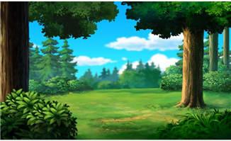 动漫森林场景ps手绘风格背景设计
