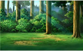 <b>手绘原始森林草地树木cg背景设计</b>