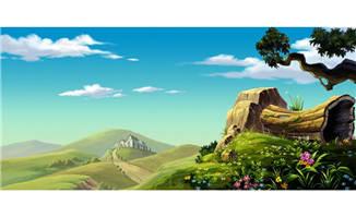 野外山岗上cg动画背景设计素材