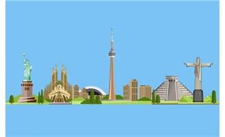 城市地标建筑扁平插画图