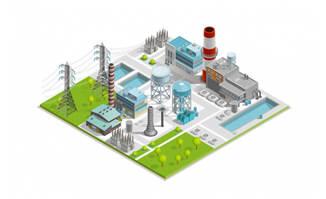 3D立体矢量发电厂卡通漫画图片