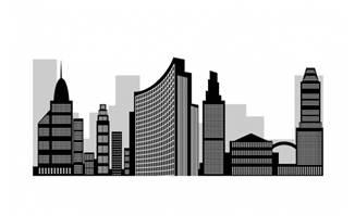现代城市黑色大厦剪影素材设计