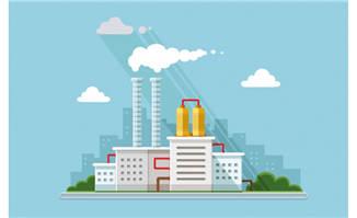 扁平化化工厂建筑元素素材设计下载
