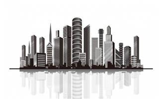 矢量剪影立体城市图设计