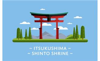 日本严岛神社地标建筑素