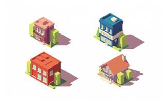 小房子素材设计矢量图片